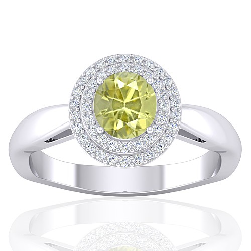 14K White Gold 1.01 cts Yellow Sapphire Stone Diamond Women Wedding Fine Jewelry Ring