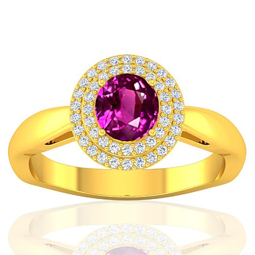 18K Yellow Gold 1.29 cts Pink Sapphire Gemstone Diamond Cocktail Vintage Women Ring