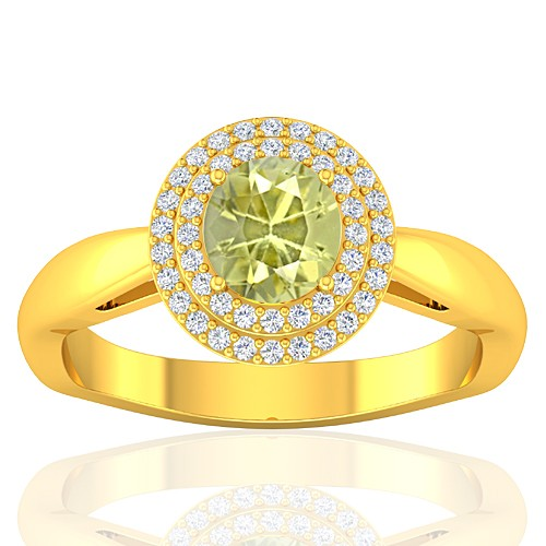 18K Yellow Gold 1.01 cts Yellow Sapphire Stone Diamond Women Wedding Fine Jewelry Ring
