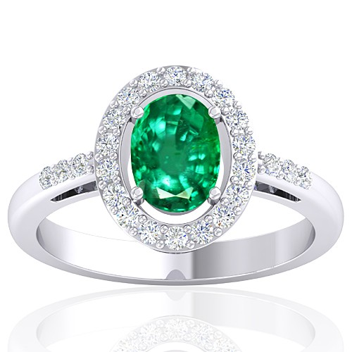 14K White Gold 1.05 cts Emerald Gemstone Diamond Women Wedding Designer Ring