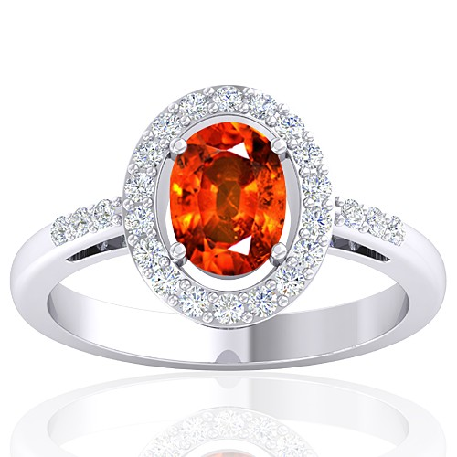 14K White Gold 1.62 cts Rhodolite Garnet Stone Diamond Cocktail Vintage Engagement Ring