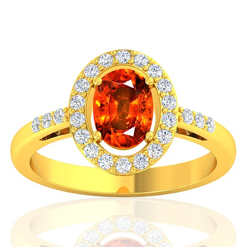 18K Yellow Gold 1.62 cts Rhodolite Garnet Stone Diamond Cocktail Vintage Engagement Ring