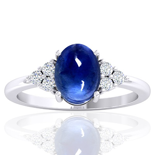 14K White Gold 2.26 cts Sapphire Gemstone Diamond Designer Fine Jewelry Ring