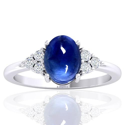 14K White Gold 2.26 cts Sapphire Gemstone Diamond Designer Fine Jewelry Ring