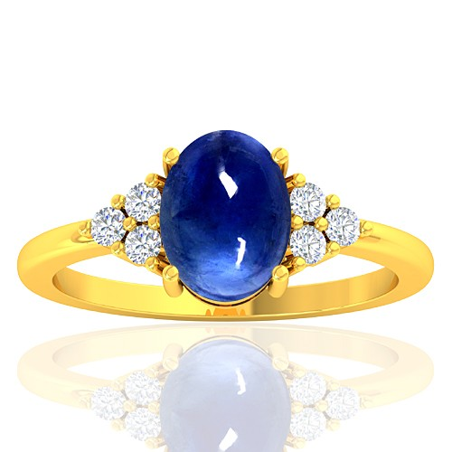 18K Yellow Gold 2.26 cts Sapphire Gemstone Diamond Designer Fine Jewelry Ring