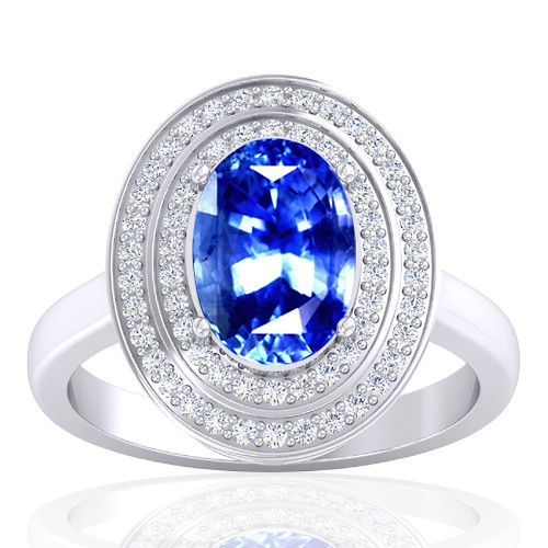 14K White Gold 4.04 Cts Blue Sapphire Gemstone Diamond Wedding Designer Jewelry Ring