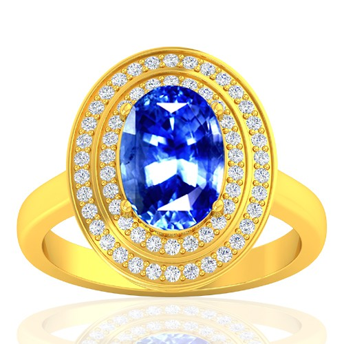 18k Yellow Gold 4.04 Cts Blue Sapphire Gemstone Diamond Wedding Designer Jewelry Ring