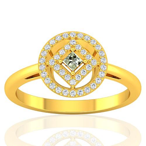 18K Yellow Gold 0.08 cts Diamond Stone Diamond Engagement Women Fine Jewelry Ring