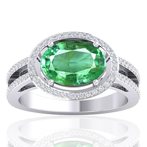 14K White Gold 2.25 cts Emerald Gemstone Diamond Women Designer Fine Jewelry Ring