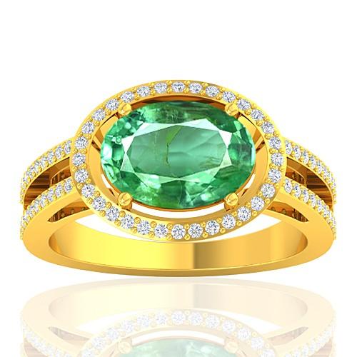 18K Yellow Gold 2.25 cts Emerald Gemstone Diamond Women Designer Fine Jewelry Ring