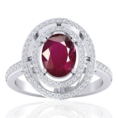14K White Gold 2.08 cts Ruby Gemstone Diamond Women Wedding Designer Fine Jewelry Ring