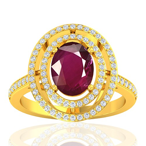 18K Yellow Gold 2.08 cts Ruby Gemstone Diamond Women Wedding Designer Fine Jewelry Ring