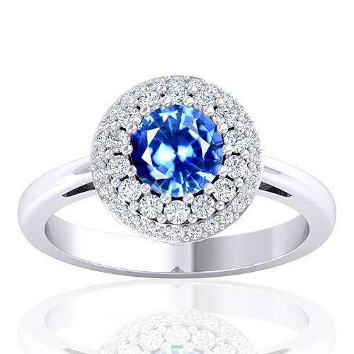 14K White Gold 1.0 cts Sapphire Stone Diamond Women Designer Fine Jewelry Ring