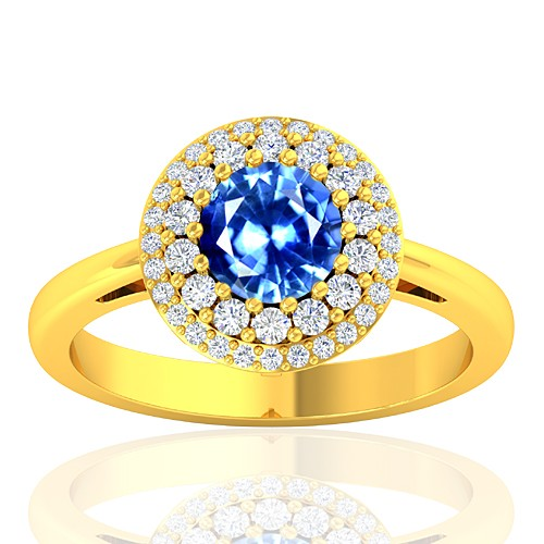 18K Yellow Gold 1.0 cts Sapphire Stone Diamond Women Designer Fine Jewelry Ring