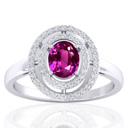 14K White Gold 1.29 cts Pink Sapphire Stone Diamond Wedding Designer Fine Jewelry Ring