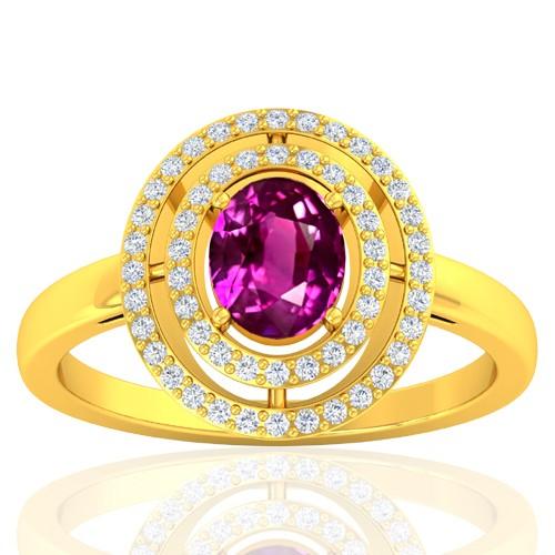18K Yellow Gold 1.29 cts Pink Sapphire Stone Diamond Wedding Designer Fine Jewelry Ring