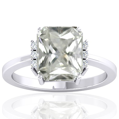 14k White Gold 3.42 cts White Sapphire Stone Diamond Wedding Designer Fine Jewelry Ring