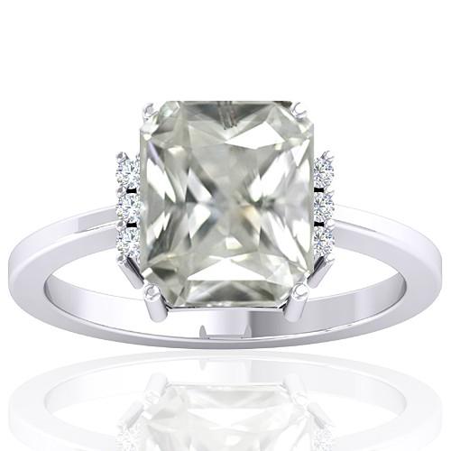 14k White Gold 3.42 cts White Sapphire Stone Diamond Wedding Designer Fine Jewelry Ring