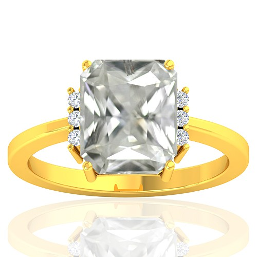 18K Yellow Gold 3.42 cts White Sapphire Stone Diamond Wedding Designer Fine Jewelry Ring