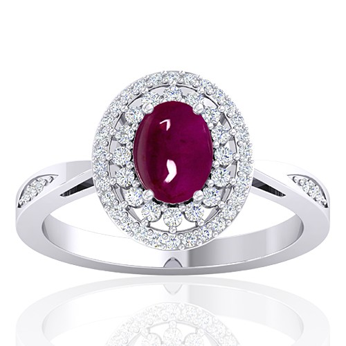 14K White Gold 1.52 cts Oval Cab Ruby Stone Diamond Engagement Women Ring