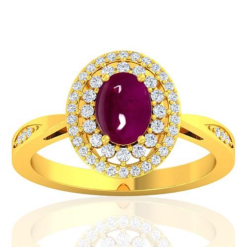 18K Yellow Gold 1.52 cts Oval Cab Ruby Stone Diamond Engagement Women Ring