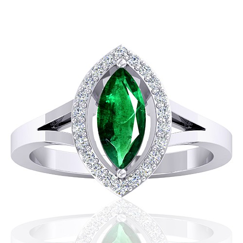 14k White Gold 0.94 cts Emerald Gemstone Diamond Designer Fine Jewelry Ring
