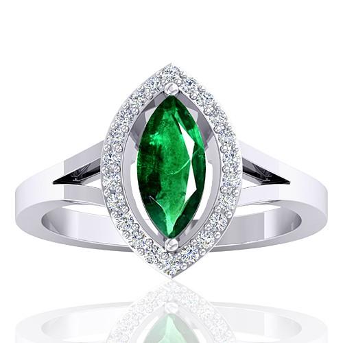 14k White Gold 0.94 cts Emerald Gemstone Diamond Designer Fine Jewelry Ring