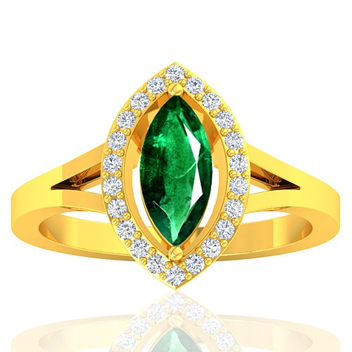 18K Yellow Gold 0.94 cts Emerald Gemstone Diamond Designer Fine Jewelry Ring