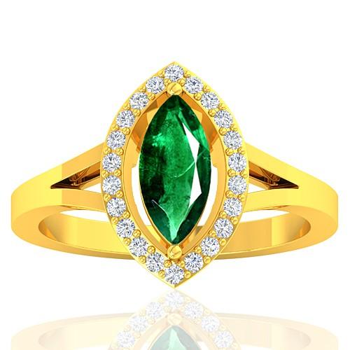 18K Yellow Gold 0.94 cts Emerald Gemstone Diamond Designer Fine Jewelry Ring