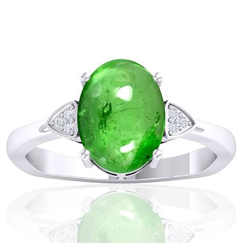 14k White Gold 3.75 cts Tsavorite Gemstone Diamond Cocktail Women Fine Jewelry Ring