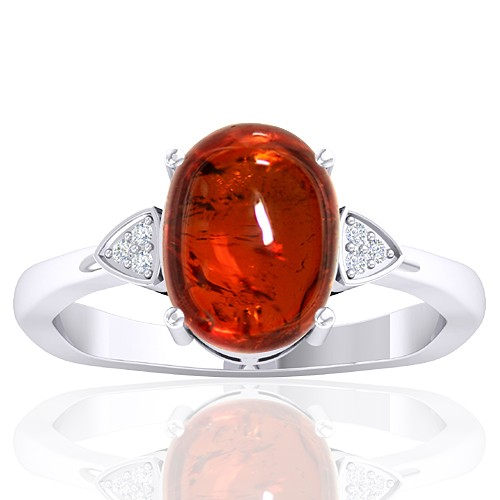 14k White Gold 4.88 cts Rhodolite Garnet Stone Diamond Cocktail Vintage Engagement Women Ring
