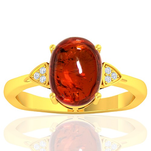 18K Yellow Gold 4.88 cts Rhodolite Garnet Stone Diamond Cocktail Vintage Engagement Women Ring
