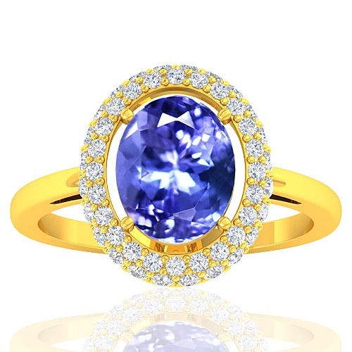 18K Yellow Gold 2.37 cts Tanzanite Gemstone Diamond Cocktail Women Wedding Designer Fine Ring