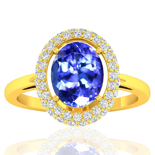 18K Yellow Gold 2.33 cts Tanzanite Stone Diamond Women Wedding Fine Jewelry Ring