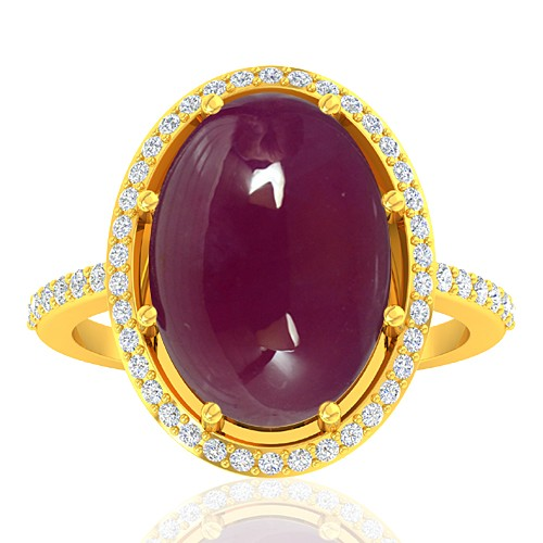 18K Yellow Gold 13.12 Cts Ruby Gemstone Diamond Women Wedding Designer Fine Jewelry Ring