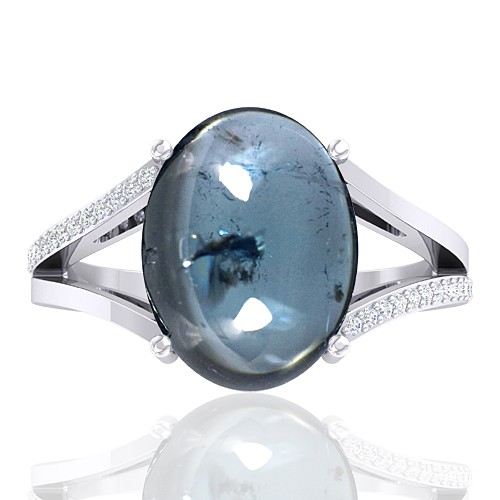 14K White Gold 7.1 Cts Tourmaline Stone Diamond Cocktail Engagement Ring