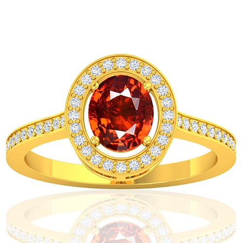 18K Yellow Gold 1.47 cts Rhodolite Garnet Stone Diamond Women Designer Fine Jewelry Ring