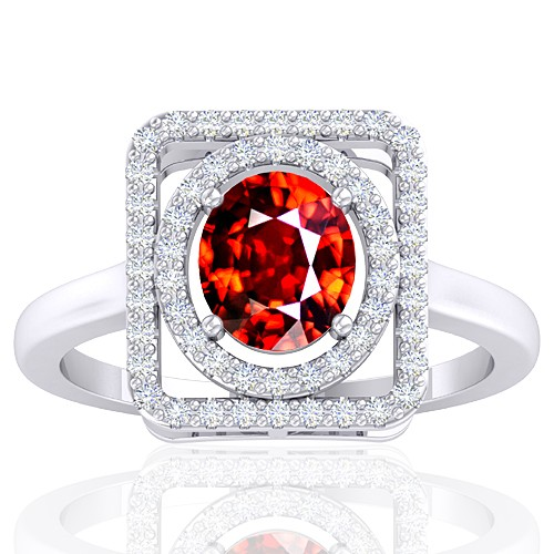 14K White Gold 1.66 cts Rhodolite Garnet Stone Diamond Cocktail Vintage Engagement Ring
