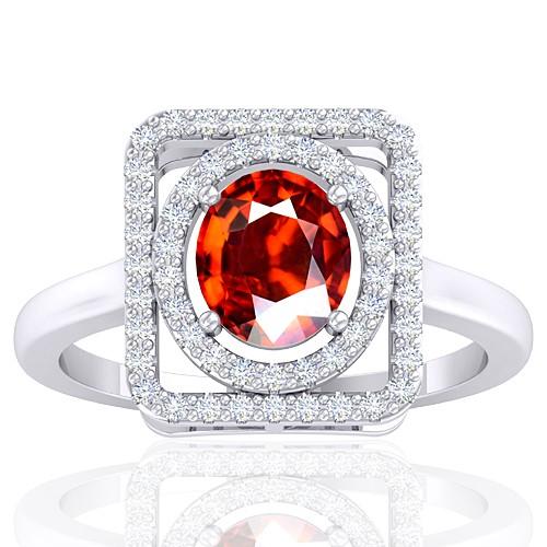 14K White Gold 1.38 Cts Rhodolite Garnet Gemstone Diamond Cocktail Vintage Jewelry Ring