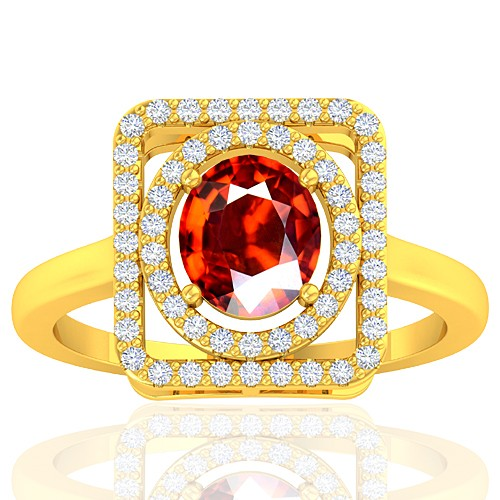 18K Yellow Gold 1.38 Cts Rhodolite Garnet Gemstone Diamond Cocktail Vintage Jewelry Ring