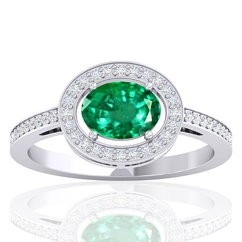 14K White Gold 1.05 Cts Emerald Gemstone Diamond Women Designer Fine Jewelry Ring