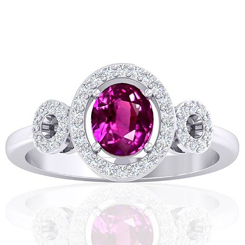 14K White Gold 1.29 cts Pink Sapphire Stone Diamond Women Fine Jewelry Ring
