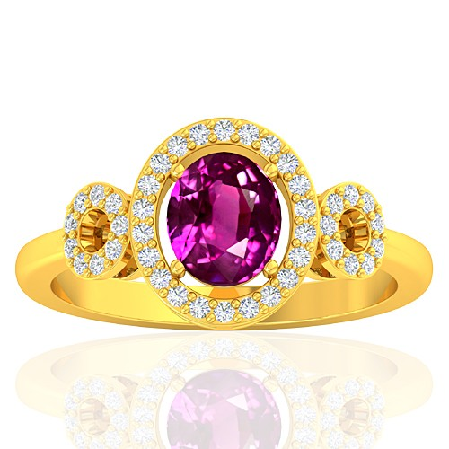 18K Yellow Gold 1.29 cts Pink Sapphire Stone Diamond Women Fine Jewelry Ring