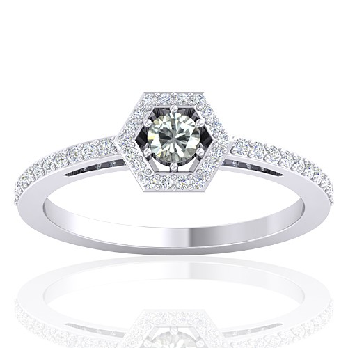 14K White Gold 0.18 cts Diamond Cocktail Vintage Engagement Designer Ring