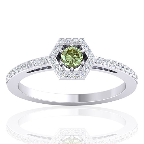 14K White Gold 0.15 cts Diamond Cocktail Engagement Fine Jewelry Ring