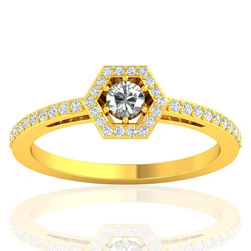 18K Yellow Gold 0.18 cts Diamond Cocktail Vintage Engagement Designer Ring