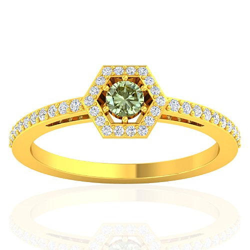18K Yellow Gold 0.15 cts Diamond Cocktail Engagement Fine Jewelry Ring