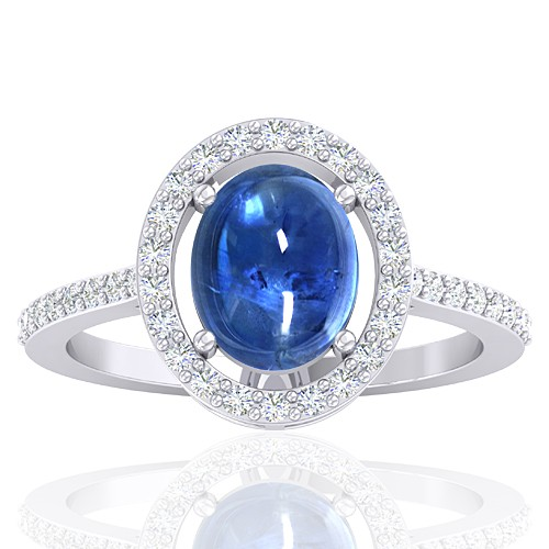 14K White Gold 2.81 cts Blue Sapphire Stone Diamond Engagement Women Ring