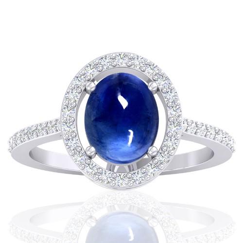14K White Gold 2.26 cts Blue Sapphire Stone Diamond Designer Fine Jewelry Ring