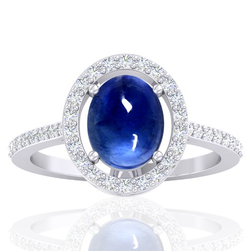 14K White Gold 2.26 cts Blue Sapphire Stone Diamond Designer Fine Jewelry Ring